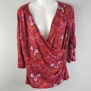 NEW TALBOTS Women's Wrap-Look Blouse Top Red MP